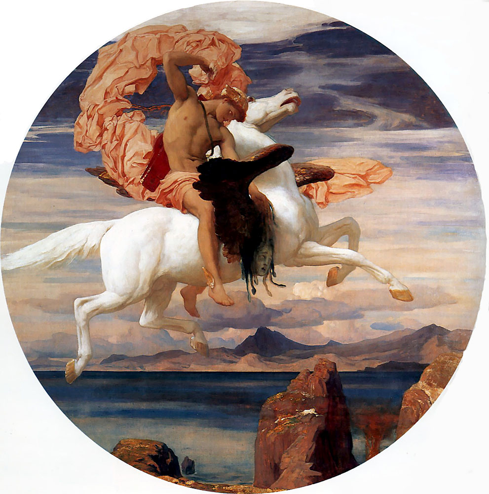 Perseus on Pegasus hastening to the rescue of Andromeda c189 | Lord Frederick Leighton | Oil Painting
