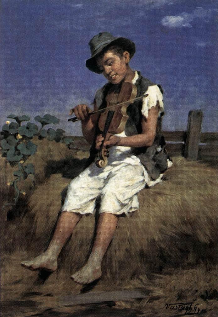 Fiddler Gypsy Boy | Gyorgy Vastagh The Elder | Oil Painting