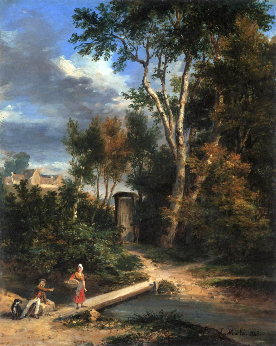 Riverside Scene 1867 | Karoly Marko The Younger | Oil Painting