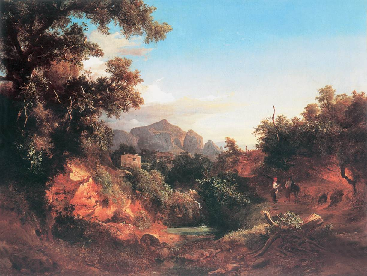 Lovers in Italian Landscape 1853 | Karoly Marko The Younger | Oil Painting