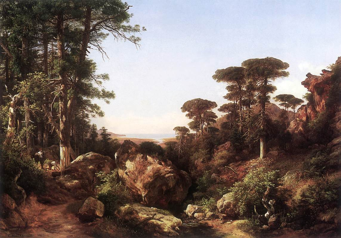 Forest Scene at Ailo in Corsica 1870s | Karoly Marko The Younger | Oil Painting