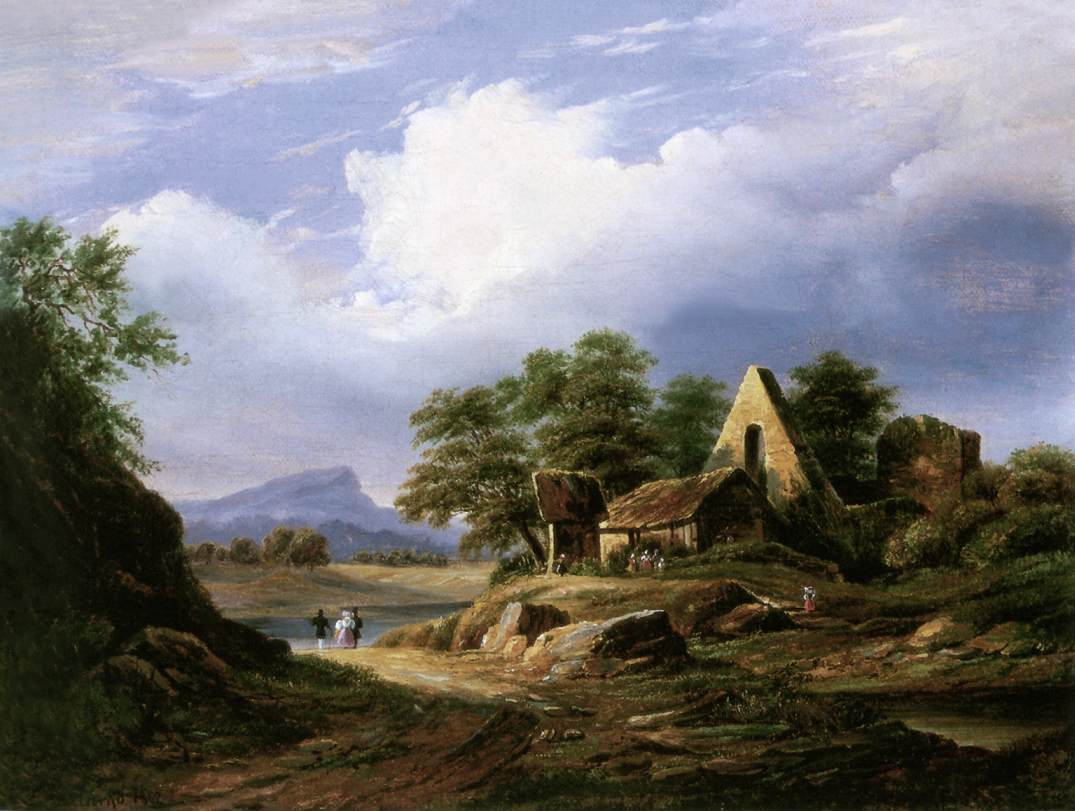 Excursionist in Italian Countryside 1862 | Karoly Marko The Younger | Oil Painting