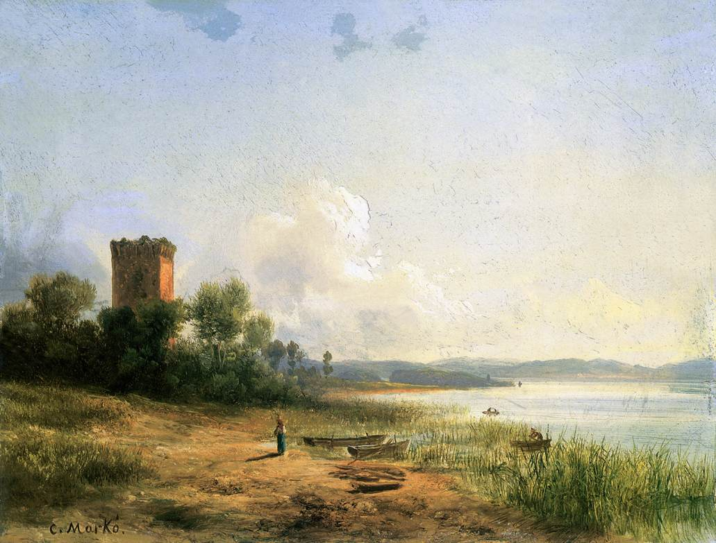 View of the Lake Trasimeno | Karoly Marko The Younger | Oil Painting