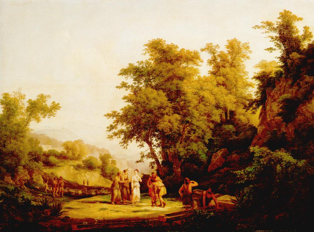 Biblical Scene (The Meeting of Jacob and Laban) 1832   Karoly Marko The Elder   Oil Painting