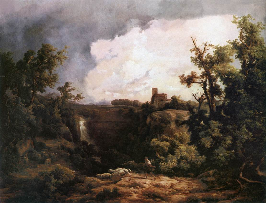 Aqua Nera near Rome 1858   Karoly Marko The Elder   Oil Painting