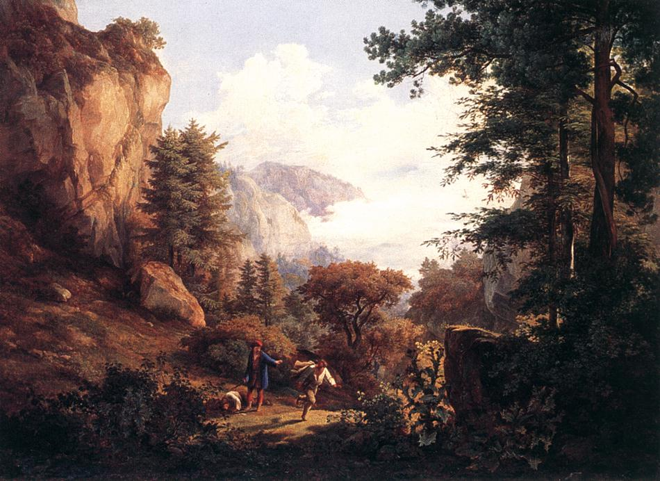 Wanderer and his Guard 1829   Karoly Marko The Elder   Oil Painting
