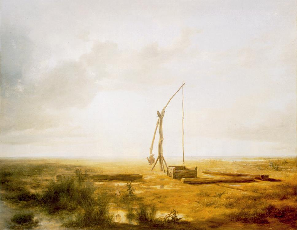 View of the Great Hungarian Plain with Draw Well 1853   Karoly Marko The Elder   Oil Painting