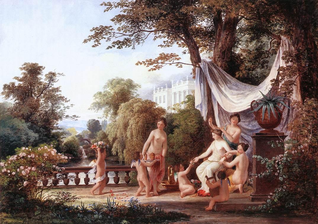 The Toilette of Venus 1830s   Karoly Marko The Elder   Oil Painting