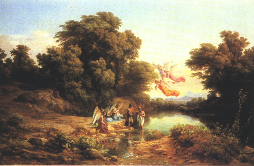 The Baptism of Christ in the River Jordan 1840 41   Karoly Marko The Elder   Oil Painting