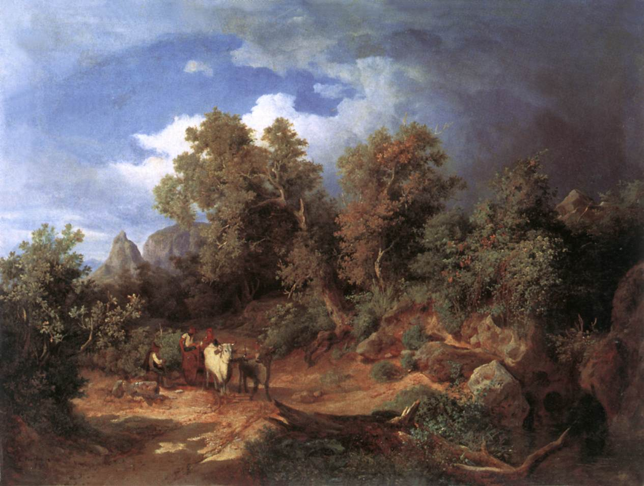 Landscape with Oxcart 1851   Karoly Marko The Elder   Oil Painting