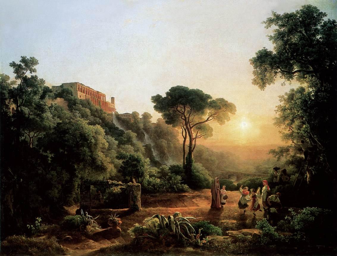 Landscape near Tivoli with Vintager Scens 1846   Karoly Marko The Elder   Oil Painting