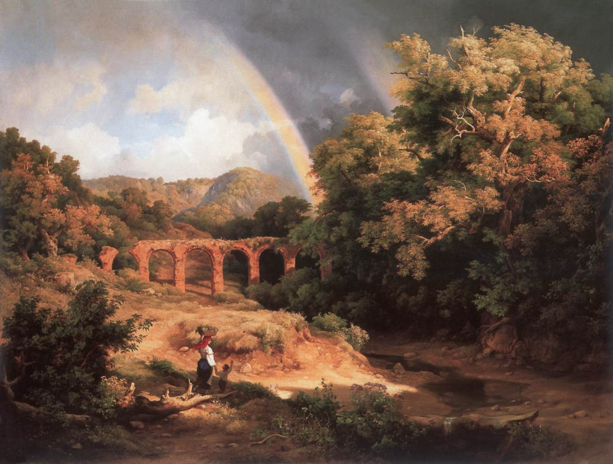 Italian Landscape with Viaduct and Rainbow 1838   Karoly Marko The Elder   Oil Painting