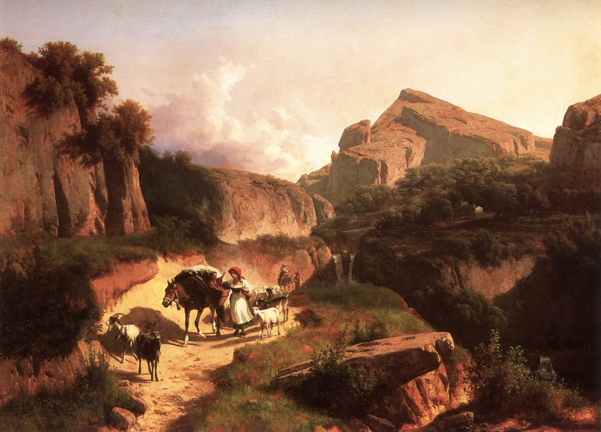 Italian Landscape with Sheperdess 1875 | Andras Marko | Oil Painting