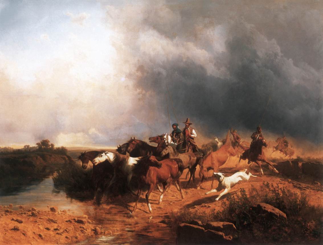Italian Landscape with Galoping Horses 1871 | Andras Marko | Oil Painting