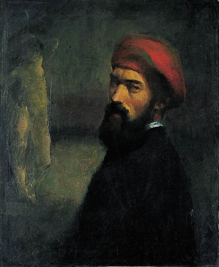 Self Portrait with a Red Cap 1922   Lajos Nandor Varga   Oil Painting