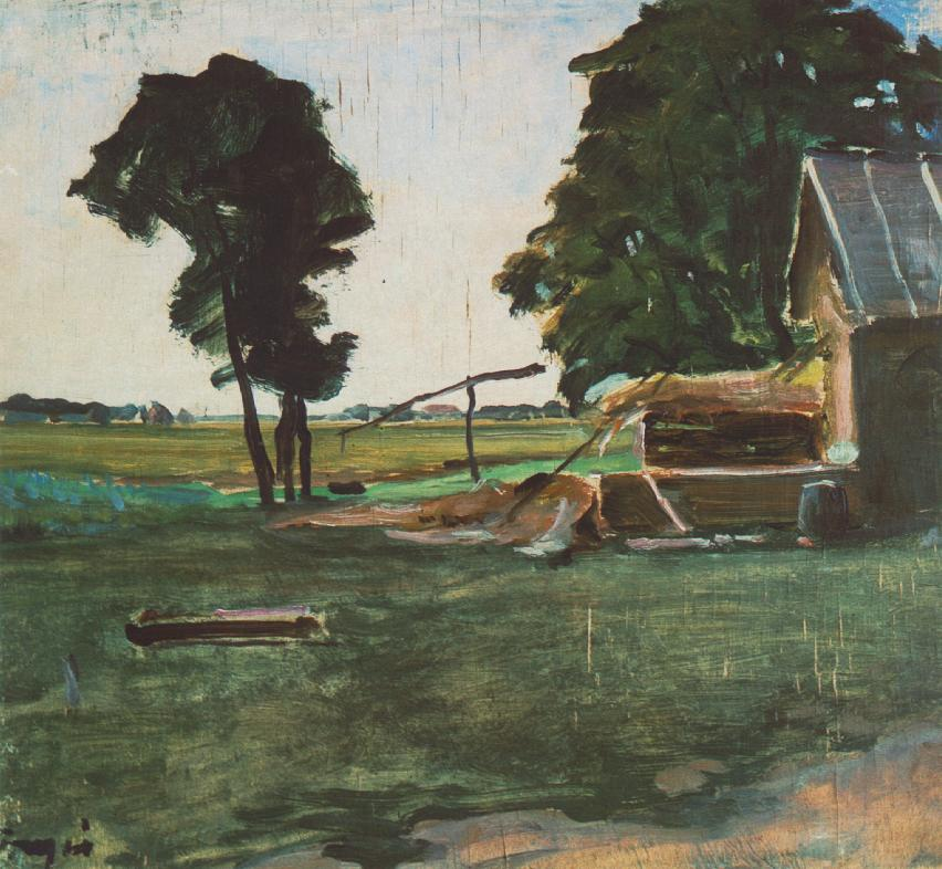Farm with Shadoof 1907 | Janos Tornyai | Oil Painting