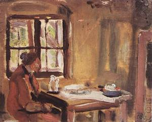 At the Window (Rozsi at the Table) 1933 34 | Janos Tornyai | Oil Painting