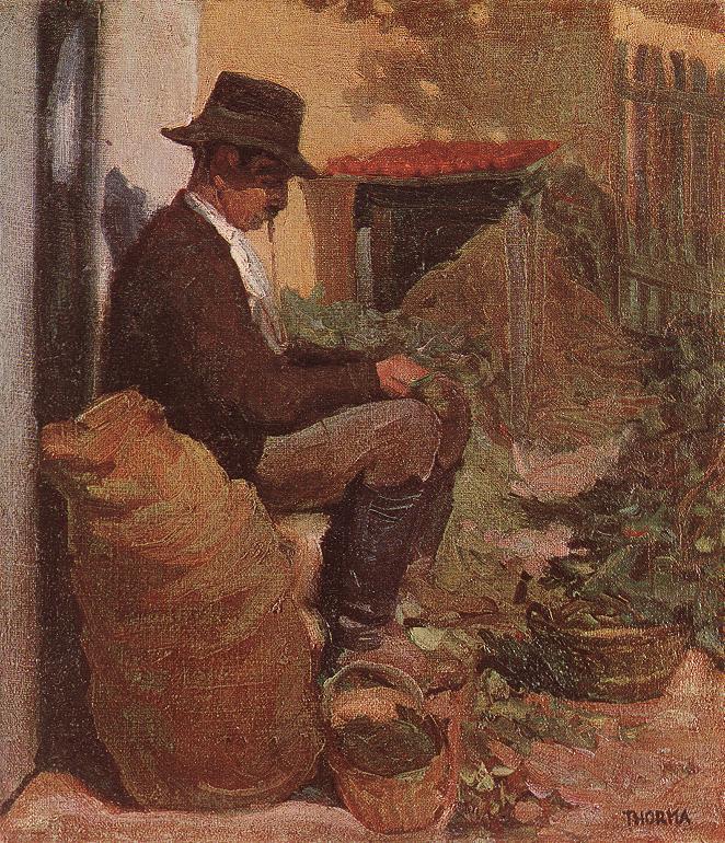 Peasant Shelling Peas c 1910 | Janos Thorma | Oil Painting