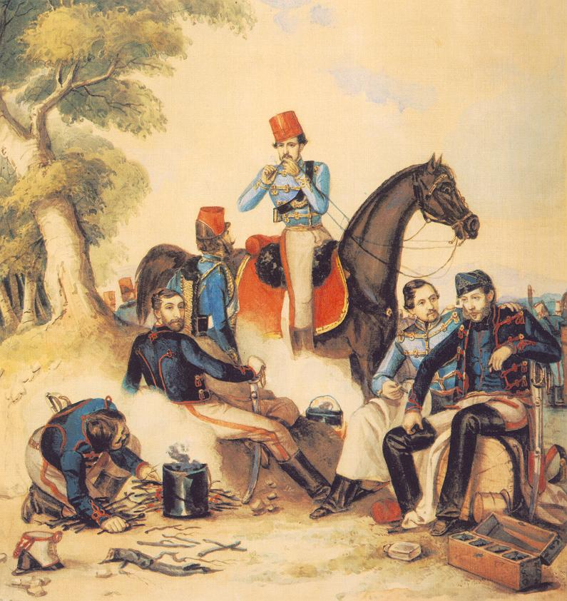 Officers at Camp fire 1849 50 | Mor Than | Oil Painting