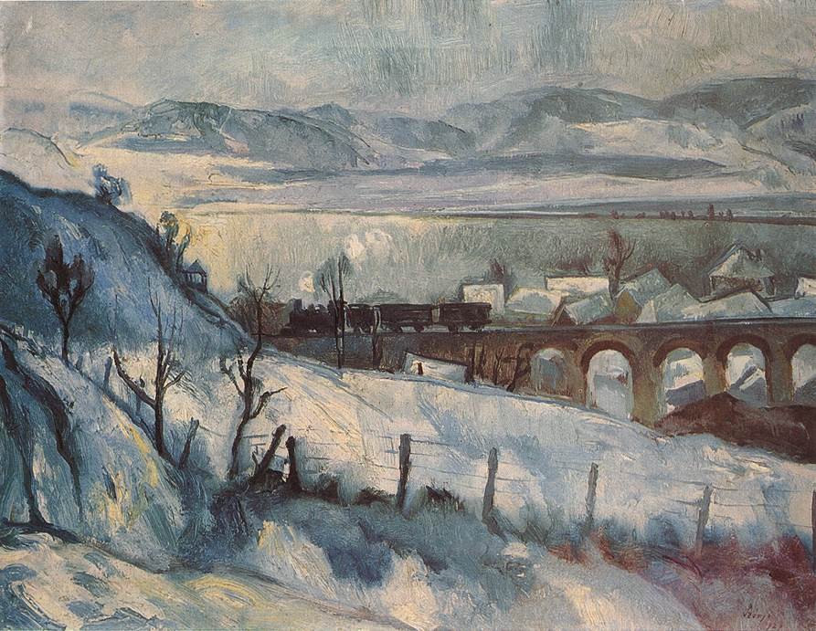 Viaduct (Winter Landscape with Railway) 1927 | Istvan Szonyi | Oil Painting