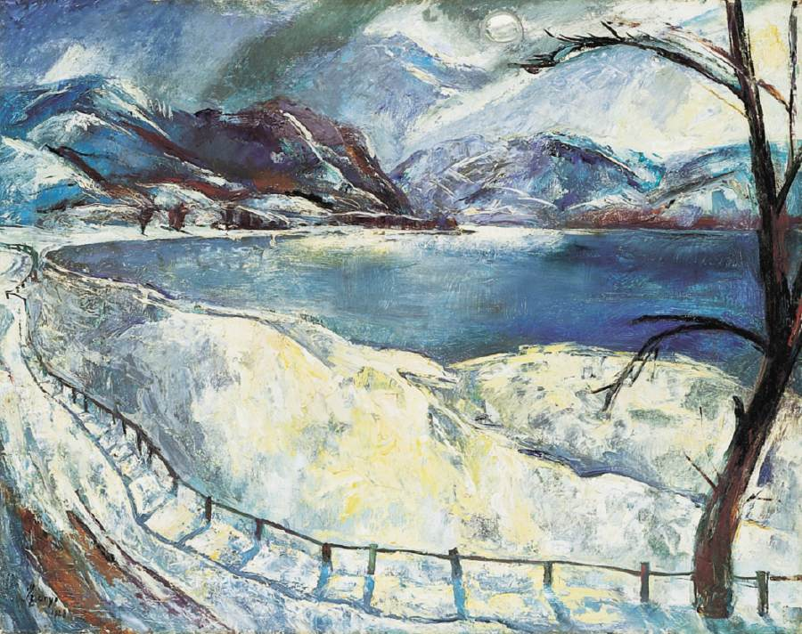 Snowy Danubian Landscape (The Danube during Winter) 1928 | Istvan Szonyi | Oil Painting