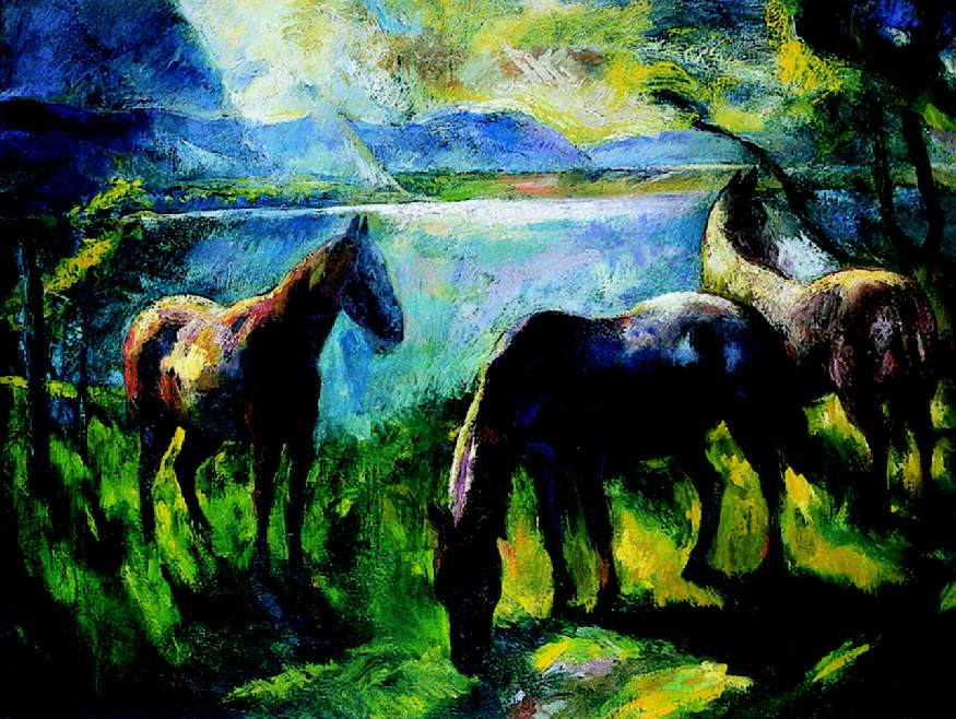 Horses in the Yard 1926 | Istvan Szonyi | Oil Painting