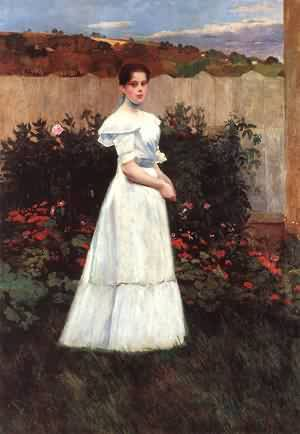 Young Lady in Flower Garden | Tivadar Zemplenyi | Oil Painting