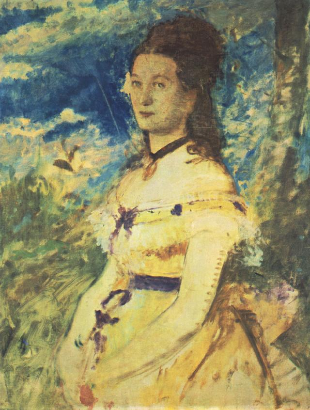 The Artist's Wife Dressed in Yellow 1874 | Pai Merse Szinyei | Oil Painting