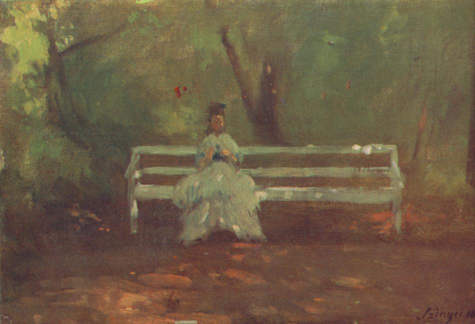 On a Garden Bench (sketch) 1873 | Pai Merse Szinyei | Oil Painting