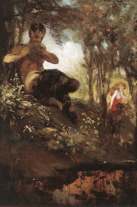 Faun and Nymph (study) 1867 | Pai Merse Szinyei | Oil Painting