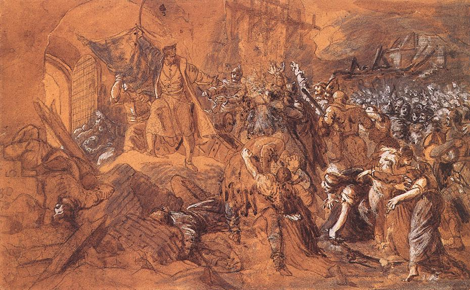 Zrinyi's Charge from the Fortress of Szigetvar before 1884 | Bertalan Szekely | Oil Painting