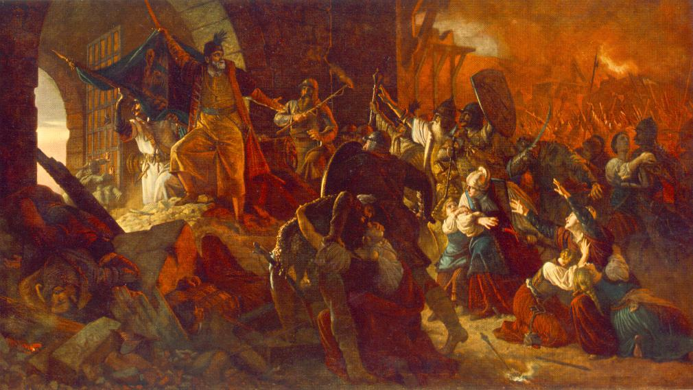 Zrinyi's Charge from the Fortress of Szigetvar 1879-85 | Bertalan Szekely | Oil Painting
