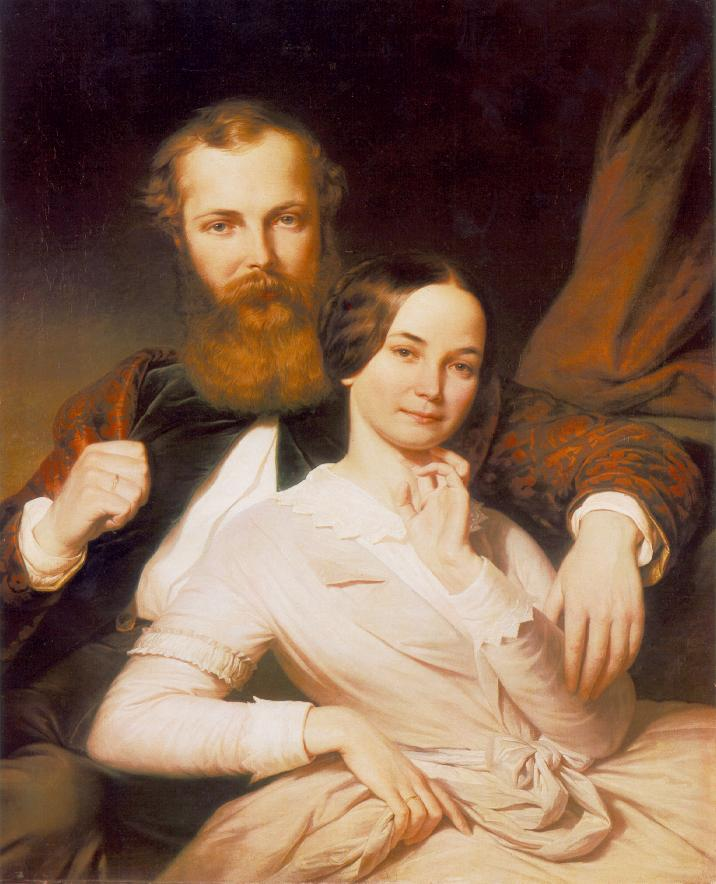 Composer Mihaly Mosonyi and his Wife 1840s | Henrik Weber | Oil Painting