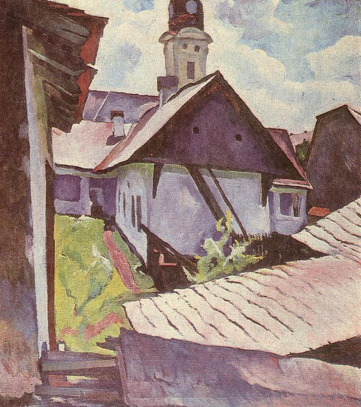 Houses at Nagybanya 1930s | Sandor Ziffer | Oil Painting