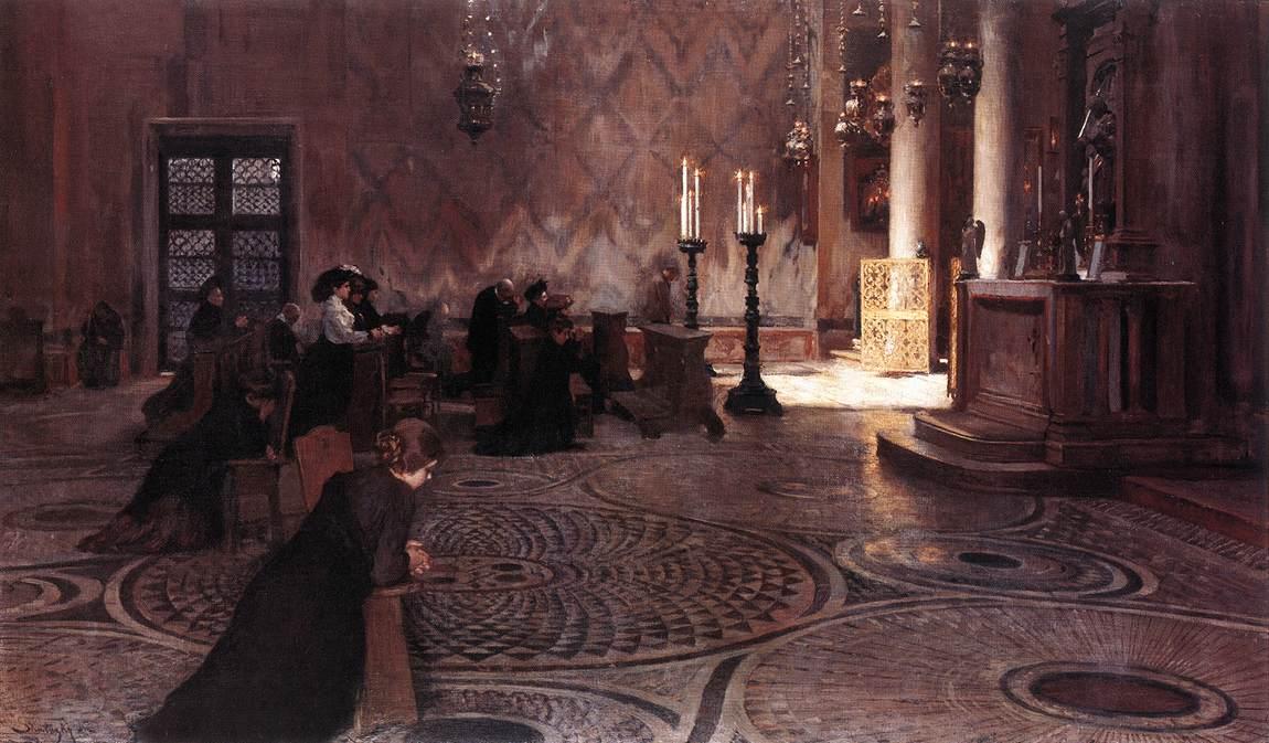 Prayer in the St Mark's Basilica in Venice 1890s   Dome Skuteczky   Oil Painting
