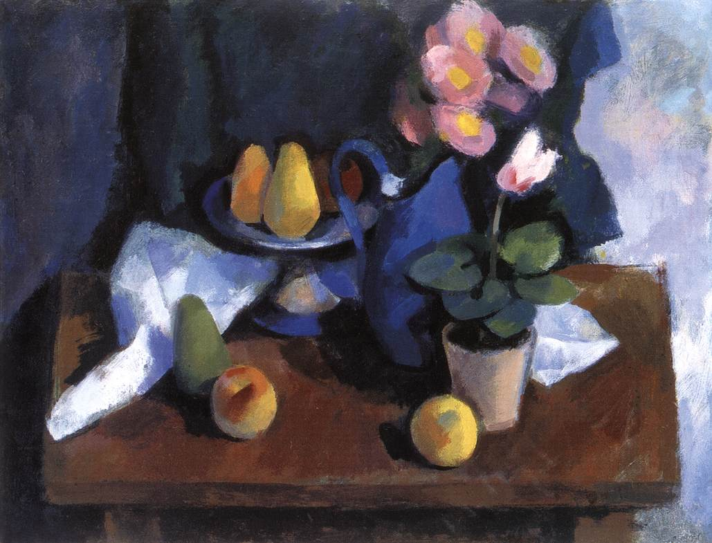 Still life with Pears and Cyclamen   Gusztav Sikuta   Oil Painting