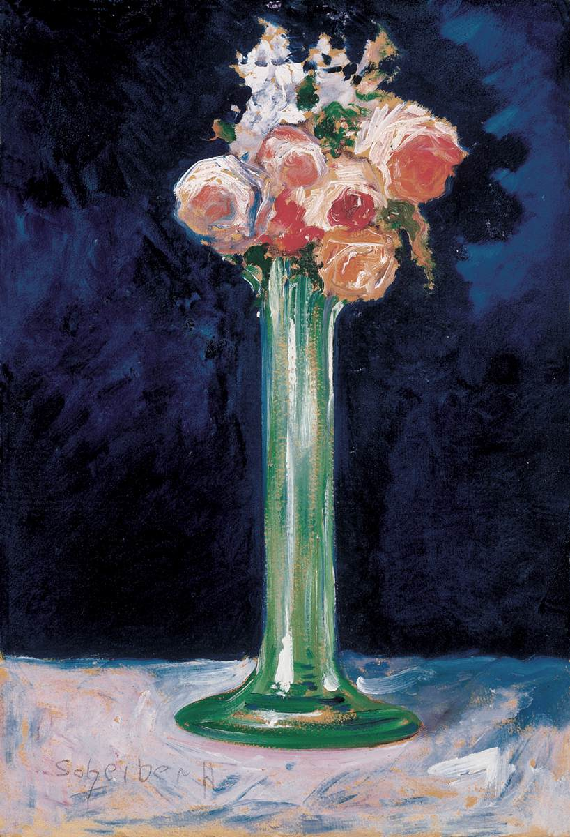 Roses in a Green Vase c 1900   Hugo Scheiber   Oil Painting