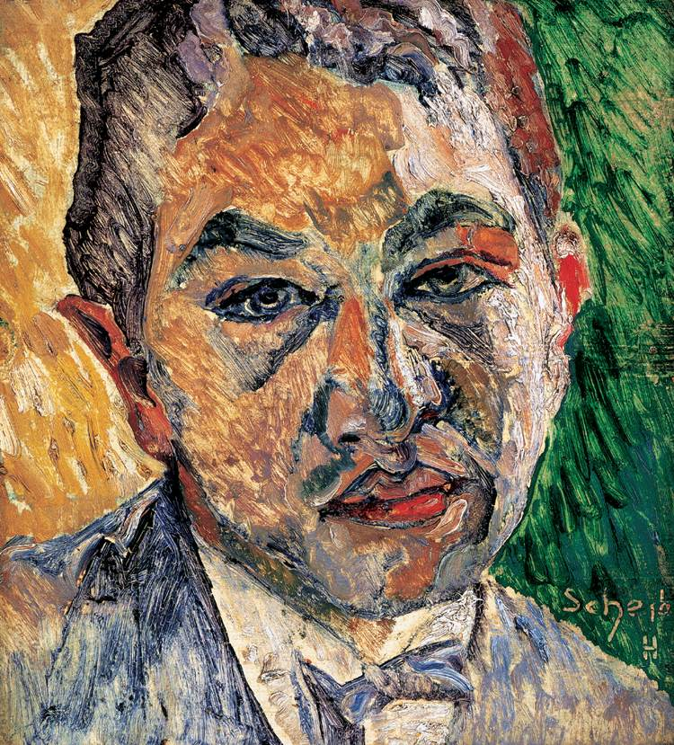 Portrait of a Boy before Green Background | Hugo Scheiber | Oil Painting