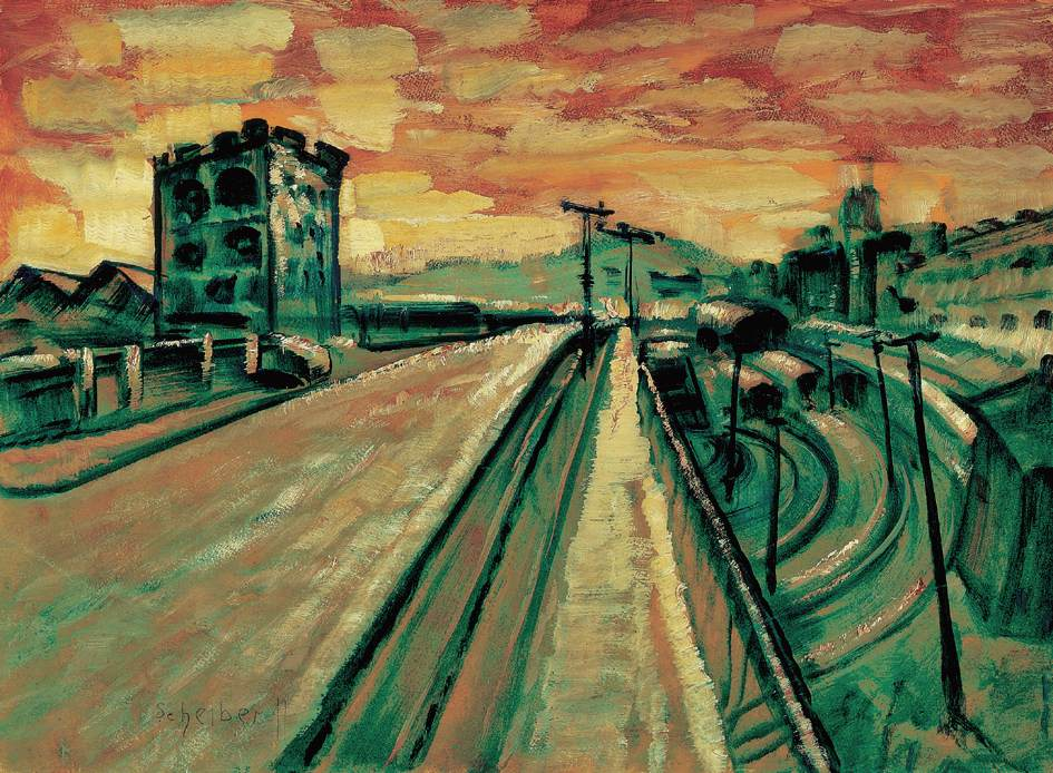Bridge at the Railway Station   Hugo Scheiber   Oil Painting