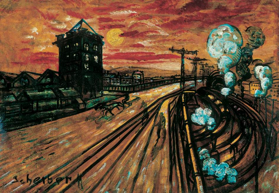 Bridge at the Railway Station-2   Hugo Scheiber   Oil Painting