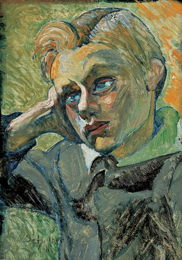 Bending Boy 1920 23   Hugo Scheiber   Oil Painting