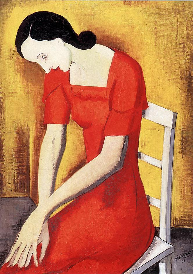 Woman in Red 1933 | Geza Voros | Oil Painting
