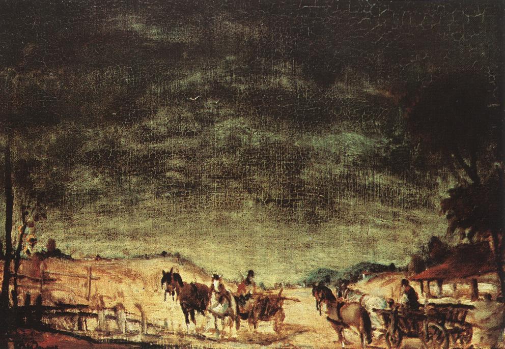 Carts c 1930   Gyula Rudnay   Oil Painting