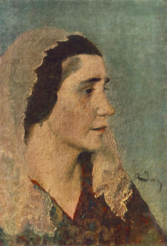 Woman with Lace Scarf c 1924   Gyula Rudnay   Oil Painting
