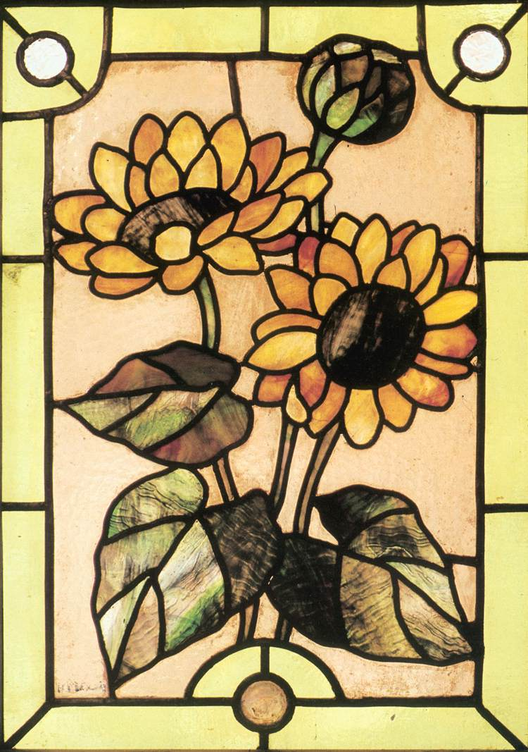 Glass Window with Sunflowers 1897   Miksa Roth   Oil Painting