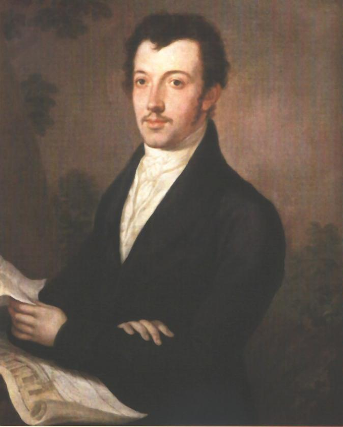 Portrait of a Man Holding a Plan 1823   Janos Rombauer   Oil Painting