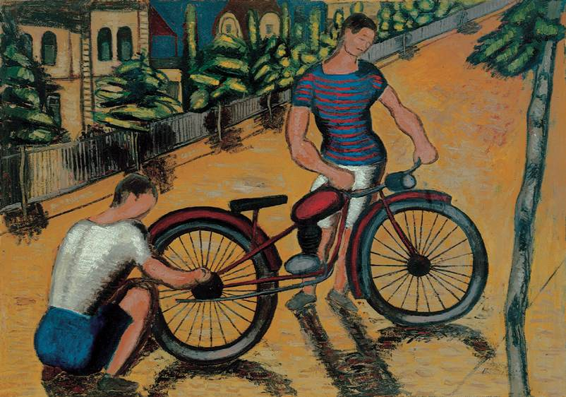 Boys with Motorbike c 1930 | Gyorgy Roman | Oil Painting