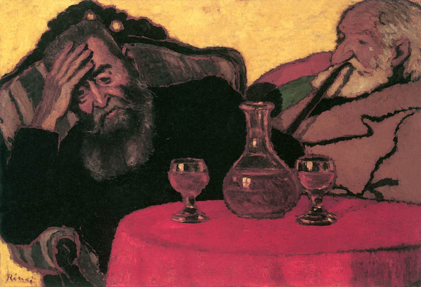 Father and Uncle Piacsek Drinking Red Wine 1907 | Jozsef Ronal Rippl | Oil Painting