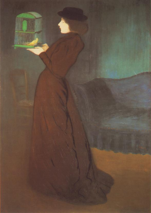 Girl with Cage 1892 | Jozsef Ronal Rippl | Oil Painting