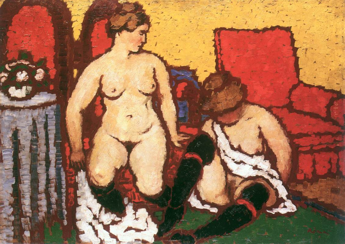 Girls Getting Dressed (red furniture and yellow wall) 1912 13 | Jozsef Ronal Rippl | Oil Painting